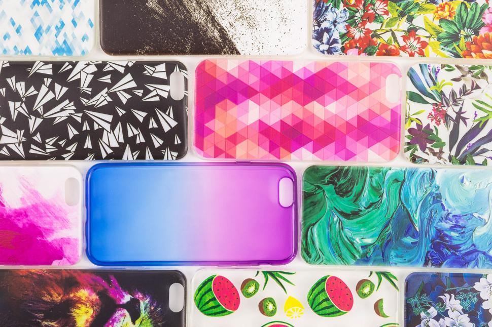 Download Free Stock Photo of Colorful phone shell cases