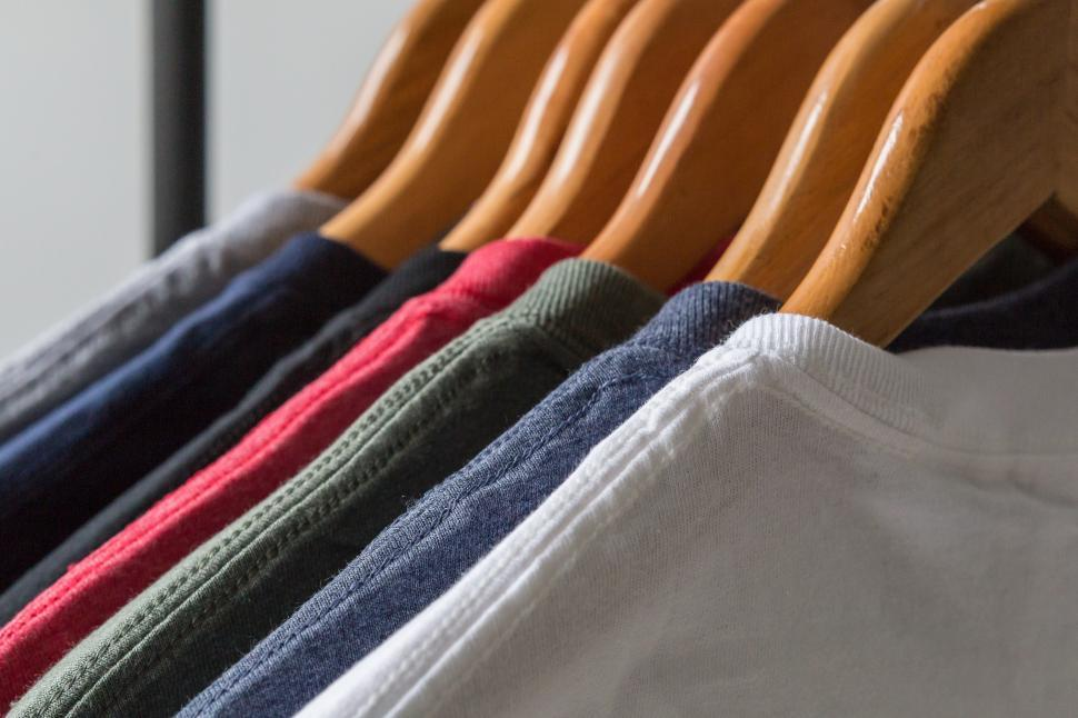 Download Free Stock Photo of Rack Of Blank Tshirts