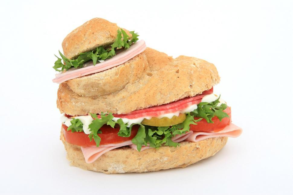 Download Free Stock Photo of sandwich snack food dish nutriment food bread lettuce lunch meal cheese tomato meat snack hamburger dinner delicious ham healthy vegetable gourmet onion plate fresh diet vegetables fast tasty
