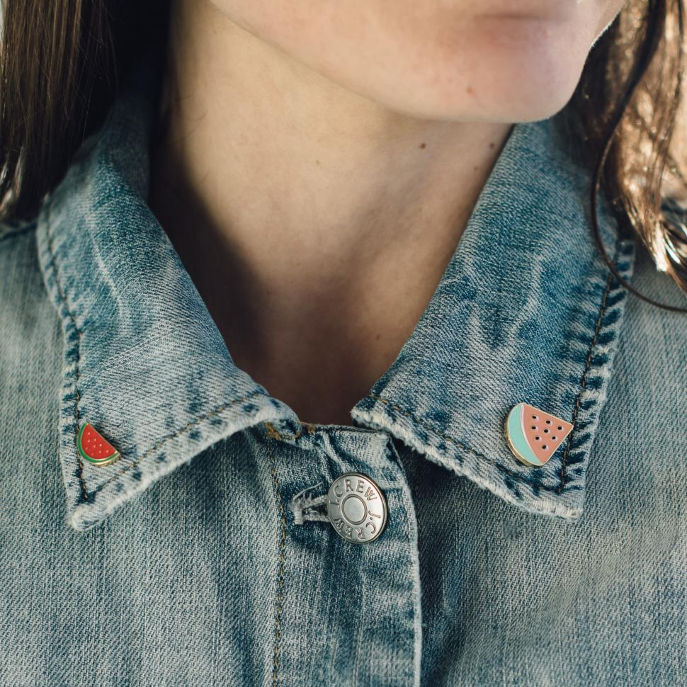 Download Free Stock Photo of Fruit Pins On Jean Jacket