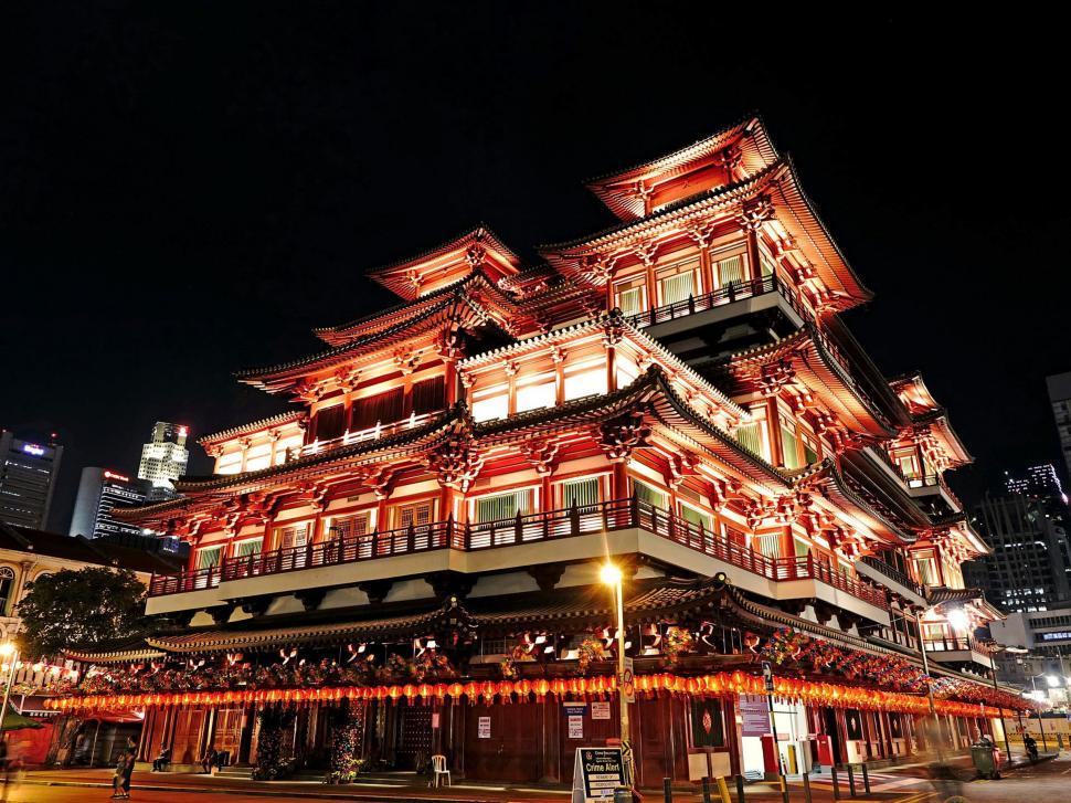 Download Free Stock HD Photo of Buddha Tooth Relic Temple from street Online