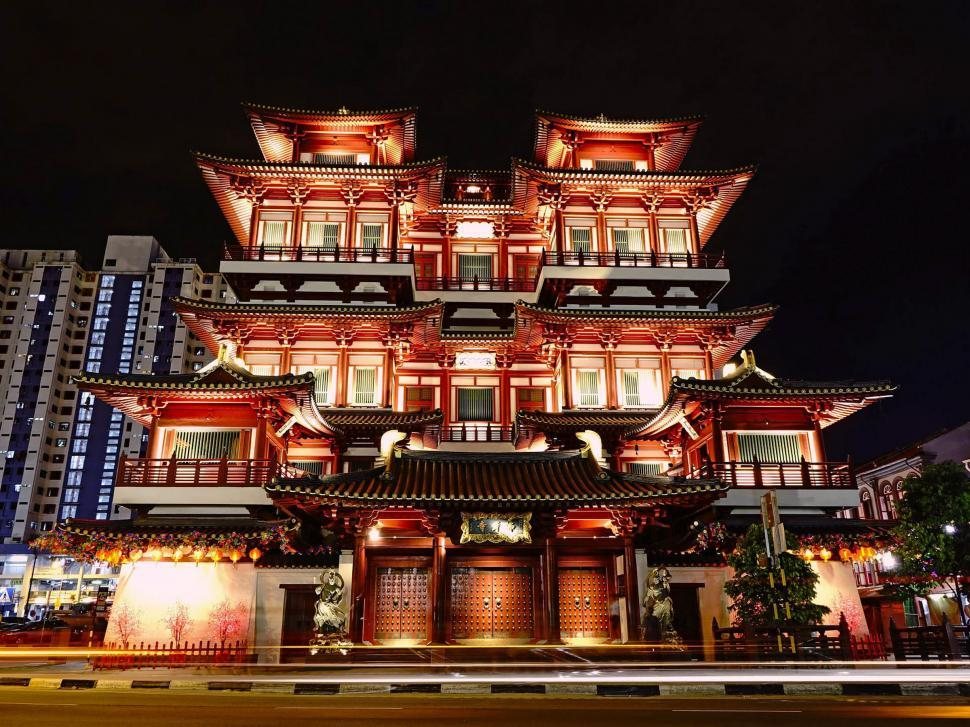 Download Free Stock Photo of Buddha Tooth Relic Temple front