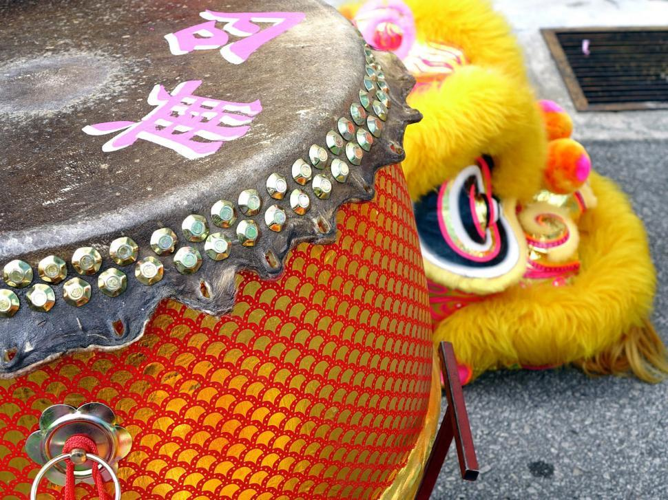 Download Free Stock Photo of Lion Dance - Drum detail