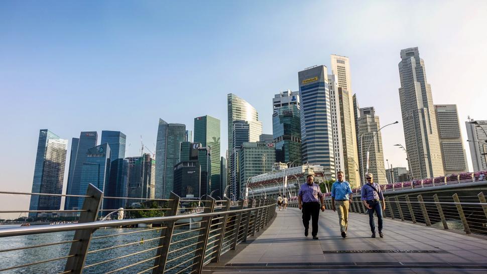Download Free Stock Photo of People walking on path, Singapore