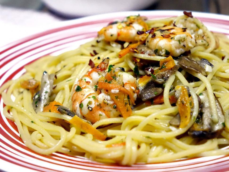 Download Free Stock Photo of Prawn Spaghetti