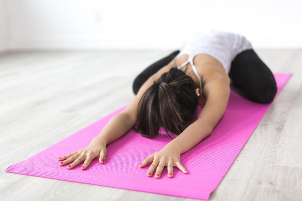 Download Free Stock Photo of Woman Doing Childs Pose
