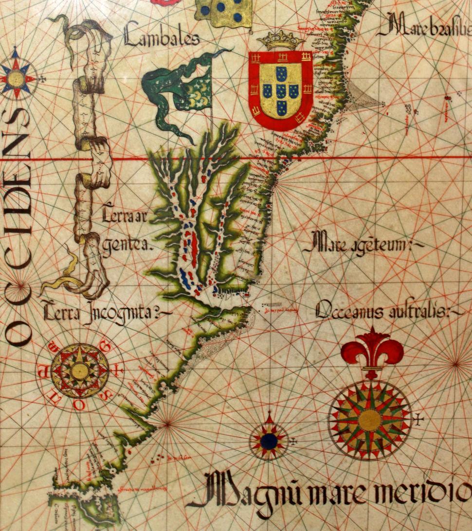 Download Free Stock HD Photo of 16th-Century Nautical Chart Showing Brazilian Coast - Detail - E Online