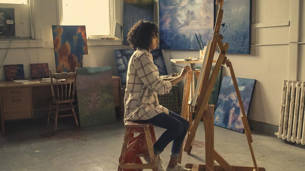 Download Free Stock Photo of Painter Working In Studio