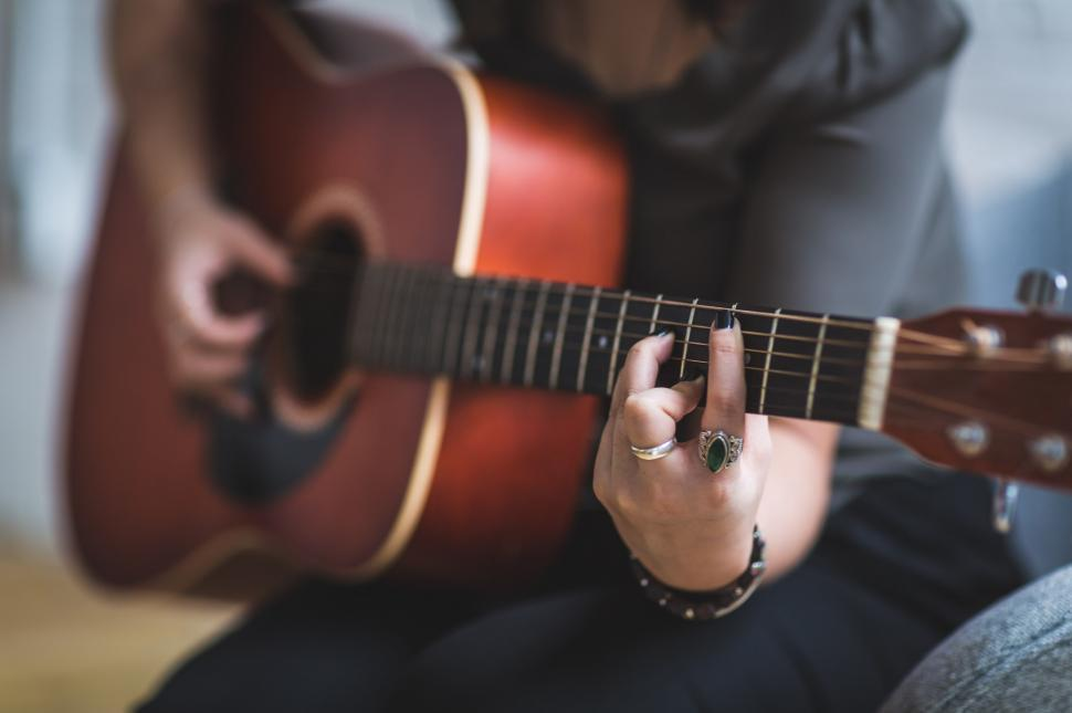 Download Free Stock Photo of Woman Playing Guitar