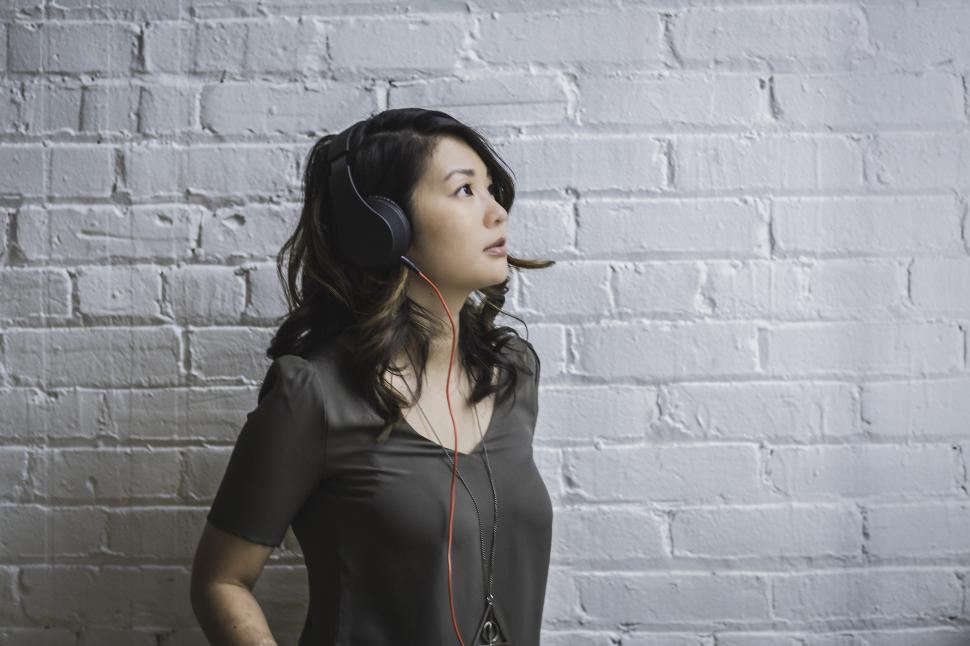 Download Free Stock Photo of Woman Wearing Headphones