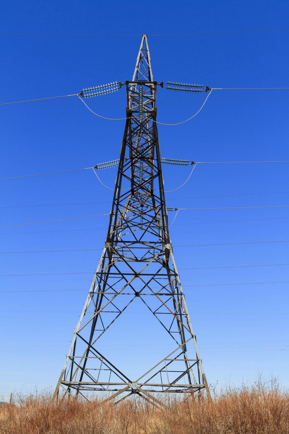 Download Free Stock Photo of Side view of high voltage tower