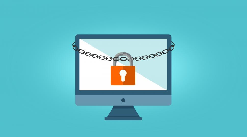 Download Free Stock Photo of Ransomware Concept - Chained Computer - Web Security
