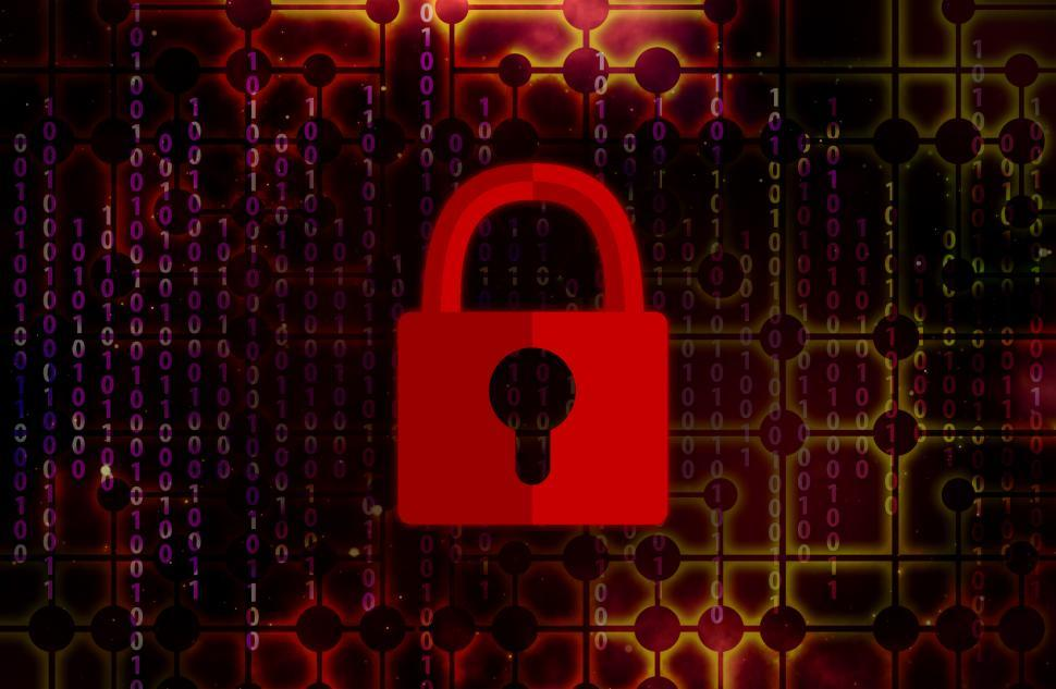 Download Free Stock Photo of Web Security Concept with Digital Padlock