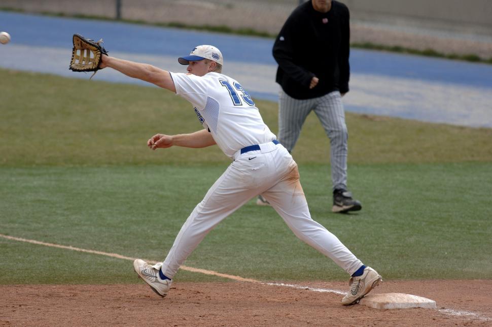 Download Free Stock Photo of base baseball baseball equipment sports equipment player equipment ball athlete ballplayer sport person male