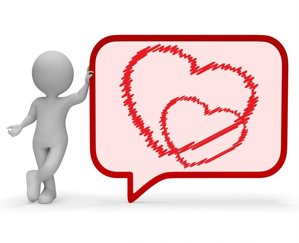 Download Free Stock HD Photo of Heart Speech Bubble Means Valentines Day 3d Rendering Online