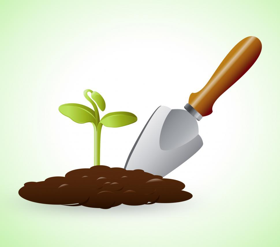 Download Free Stock Photo of Gardening Trowel Represents Grow Flowers 3d Illustration
