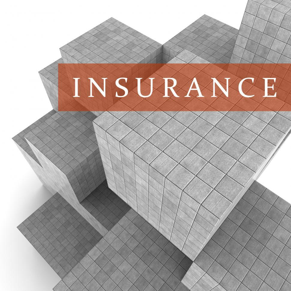 Download Free Stock Photo of Insurance Blocks Shows Financial Policy And Indemnity 3d Renderi