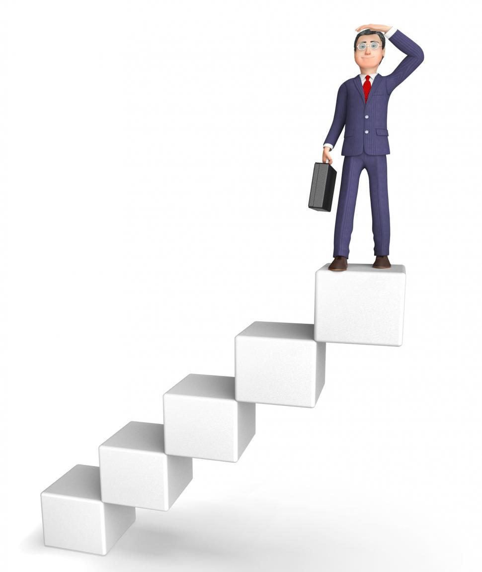 Download Free Stock Photo of Character Success Shows Stairs Entrepreneurial And Winning 3d Re