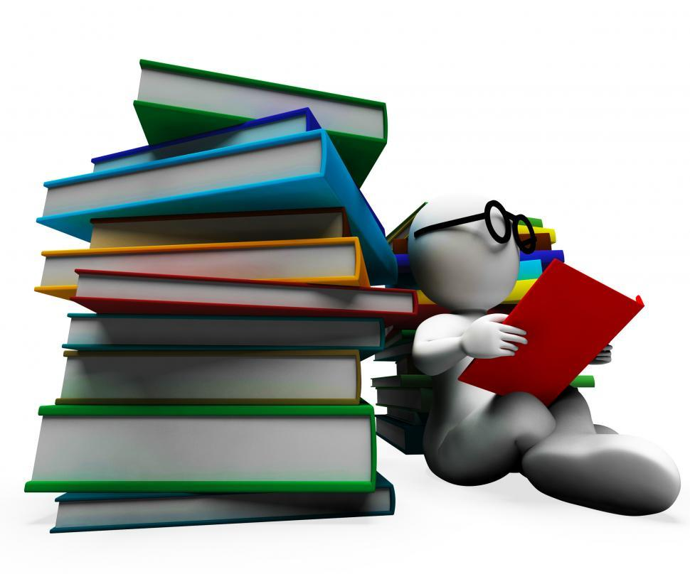 Download Free Stock Photo of Student Reading Books Showing Learning