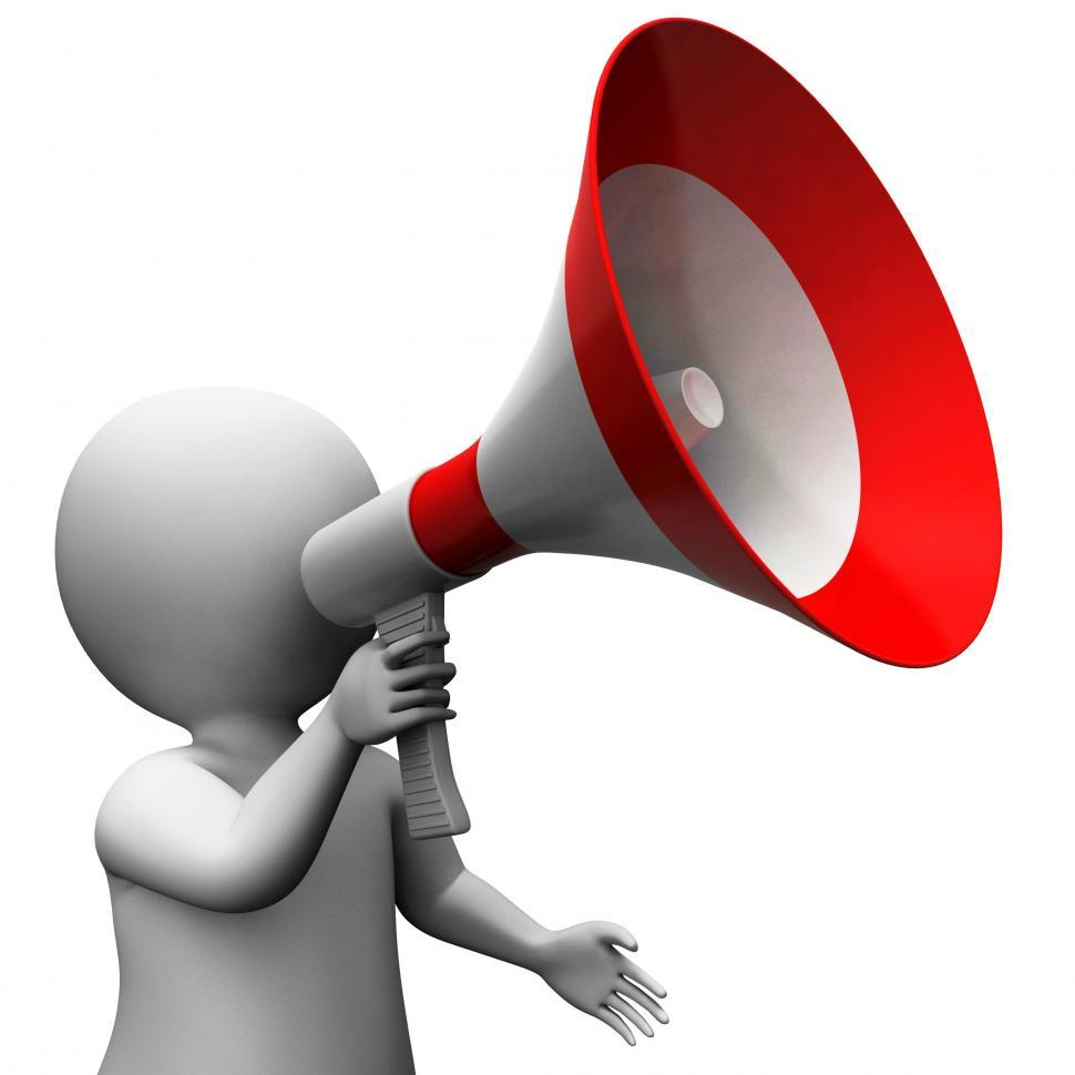 Download Free Stock Photo of Megaphone Character Shows Speech Shouting Announcing And Announc