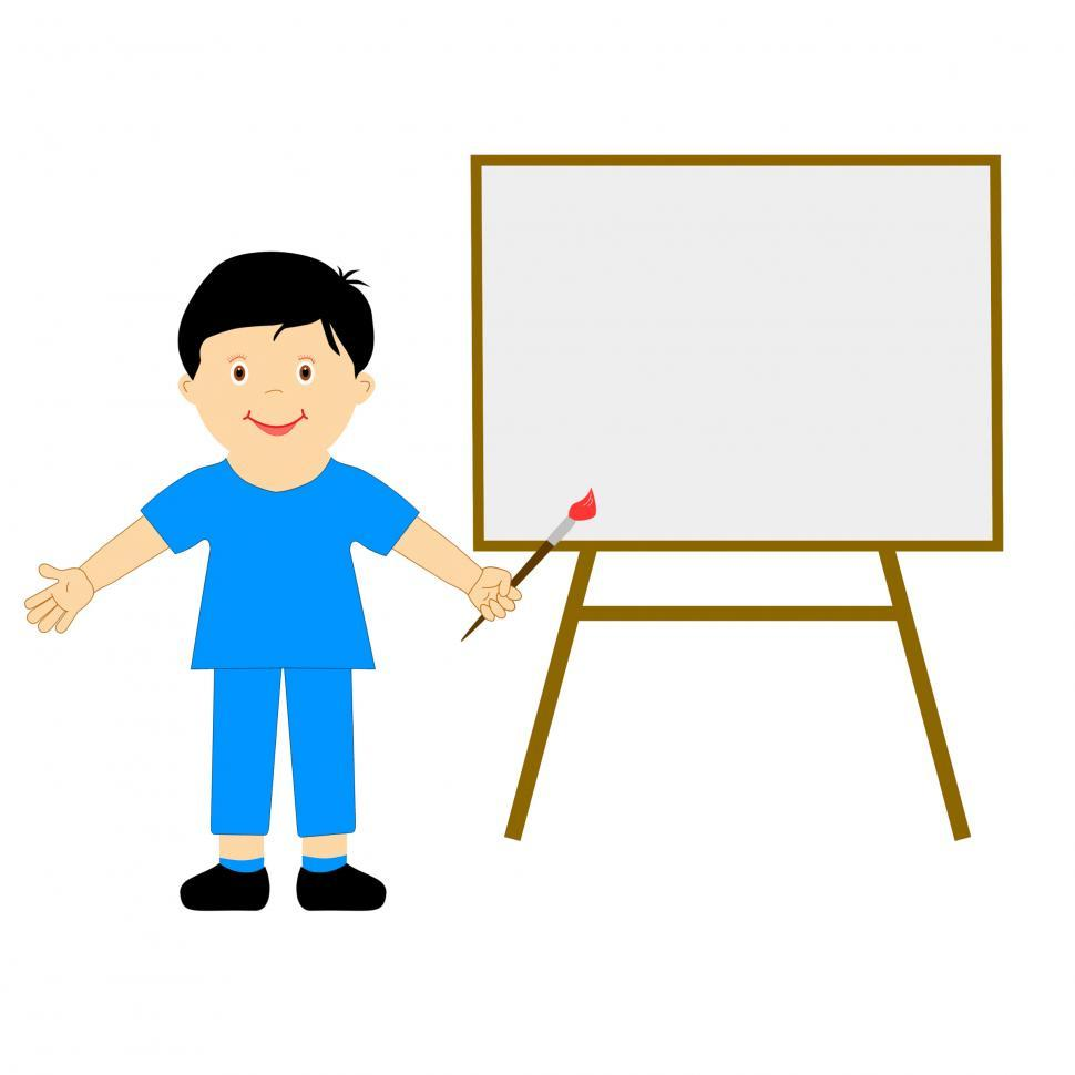 Download Free Stock Photo of Boy With Brush Means School Boy Artist Or Creative Art