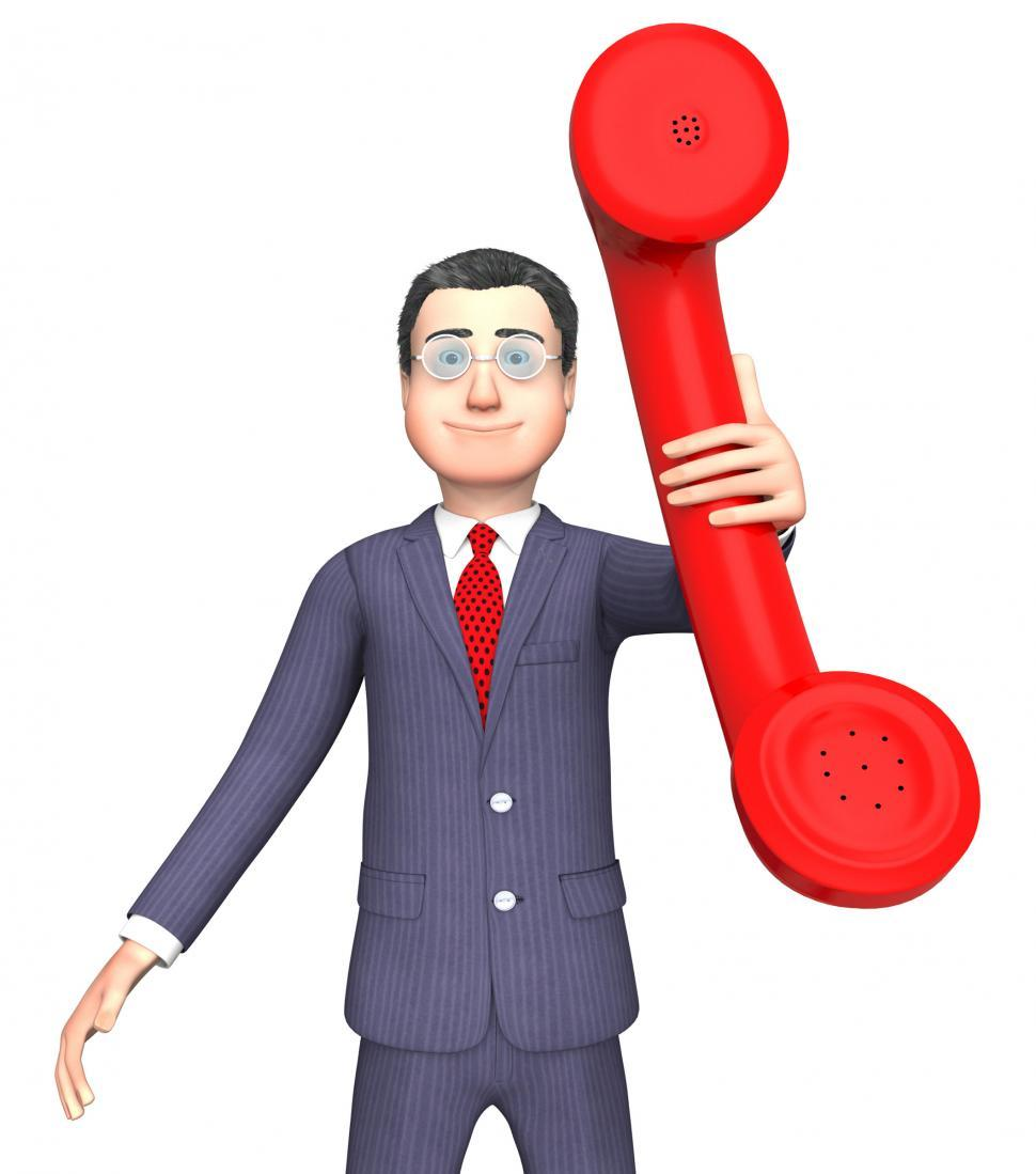 Download Free Stock Photo of Talking Character Shows Phone Call And Business 3d Rendering