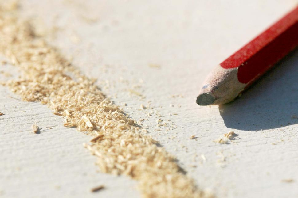 Download Free Stock HD Photo of Line of sawdust and pencil Online
