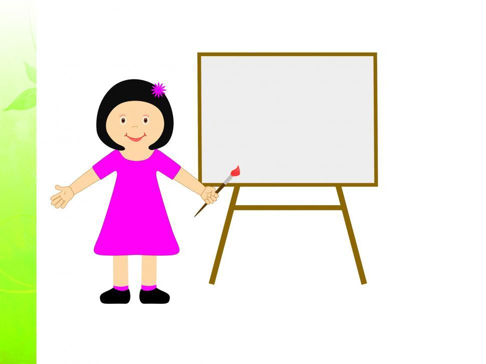 Download Free Stock Photo of Girl With Brush Shows Child Creativity Or Painting Homework