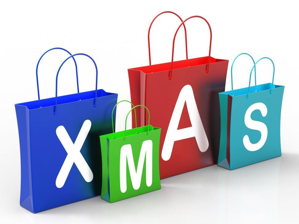 Download Free Stock HD Photo of Xmas Shopping Bags Show Retail Stores Or Buying Online
