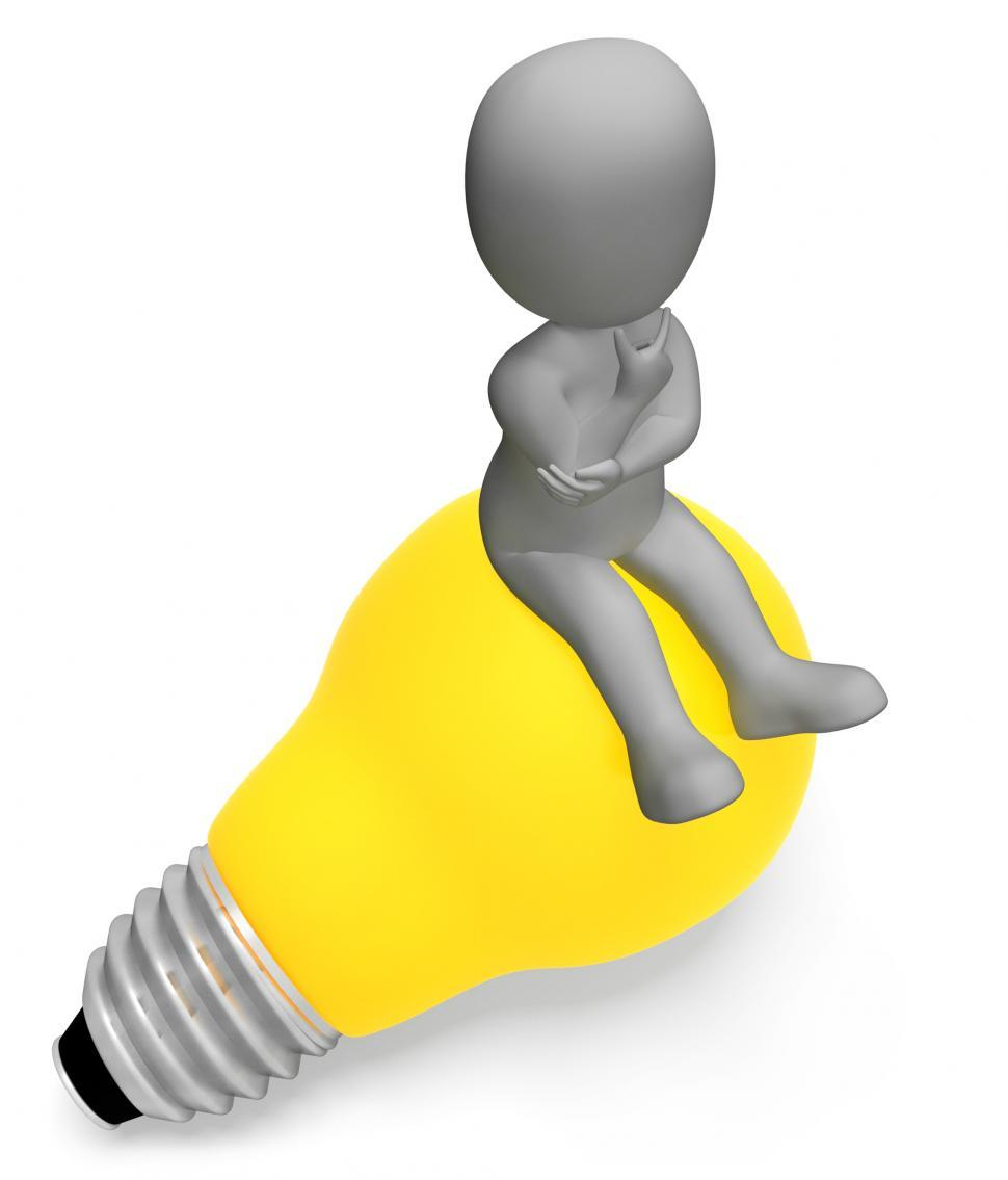 Download Free Stock Photo of Lightbulb Thinking Indicates Power Source And Character 3d Rende