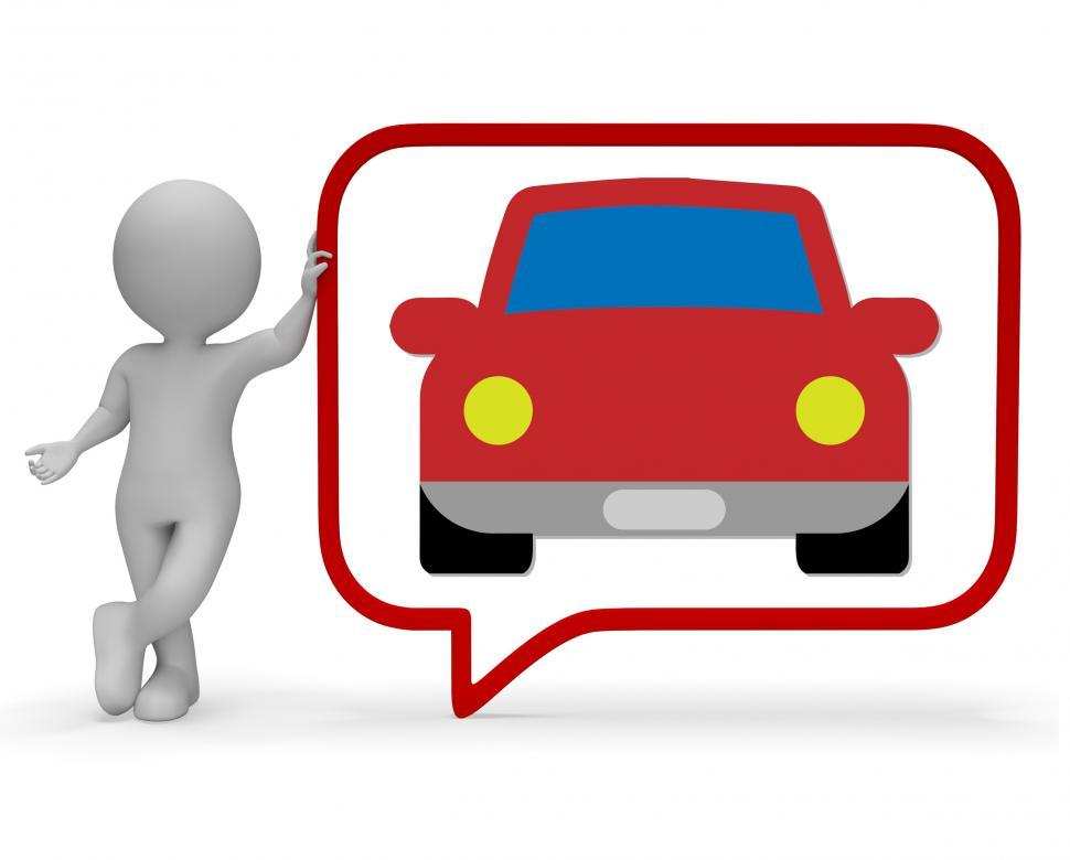 Download Free Stock Photo of Car Speech Bubble Shows Communication Gossip 3d Rendering