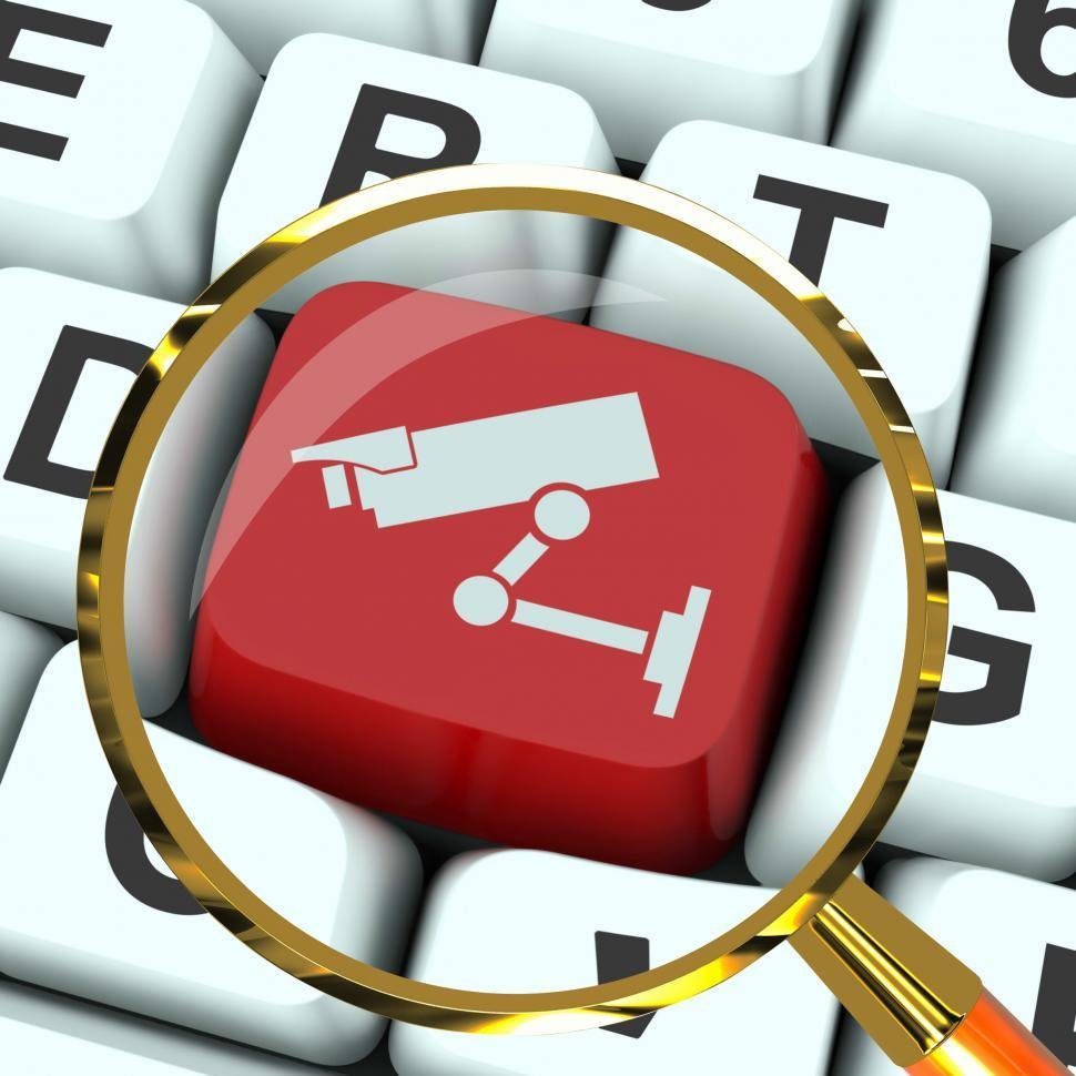 Download Free Stock HD Photo of Camera Key Magnified Shows CCTV and Web Security Online