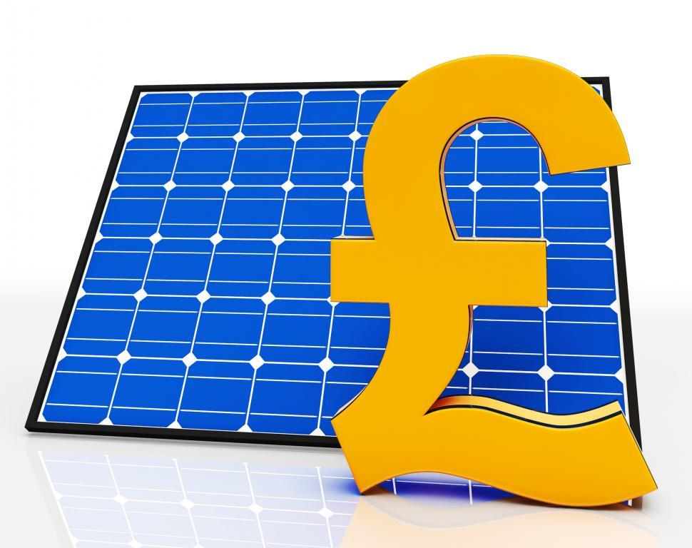 Download Free Stock HD Photo of Solar Panel And Pound Sign Shows Saving Power Online