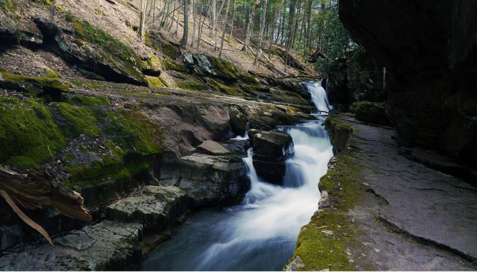 Download Free Stock Photo of Van Campens Glen Waterfall Rock Shelf