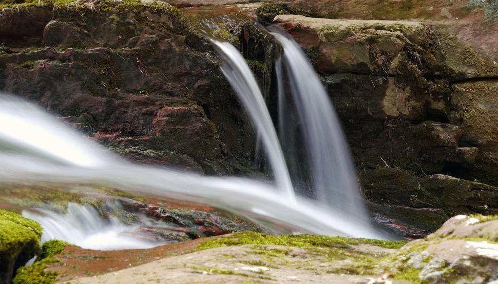 Download Free Stock Photo of Small Twin Falls at Van Campens Glen