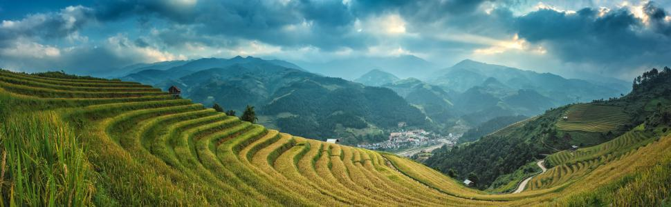 Download Free Stock HD Photo of Mountainous Agricultural Field Online