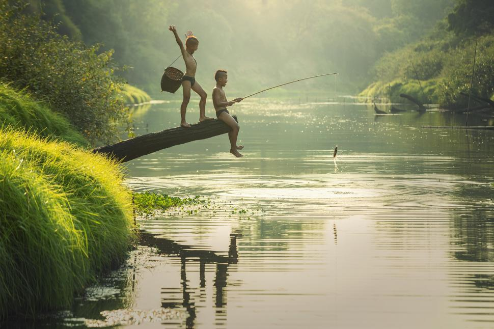 Download Free Stock HD Photo of Two Kids Fishing Online