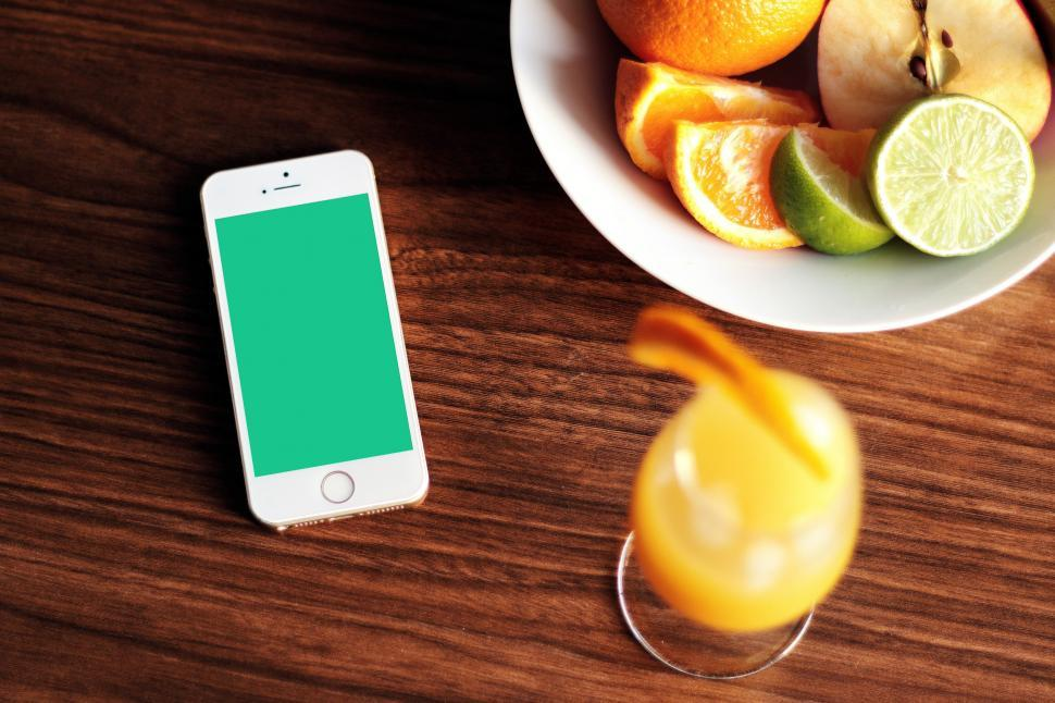 Download Free Stock Photo of Phone and Fruits