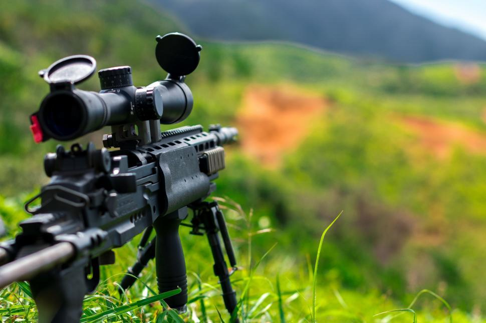 Download Free Stock Photo of assault rifle automatic firearm automatic rifle gun machine gun tripod autoloader firearm rifle man weapon rack support