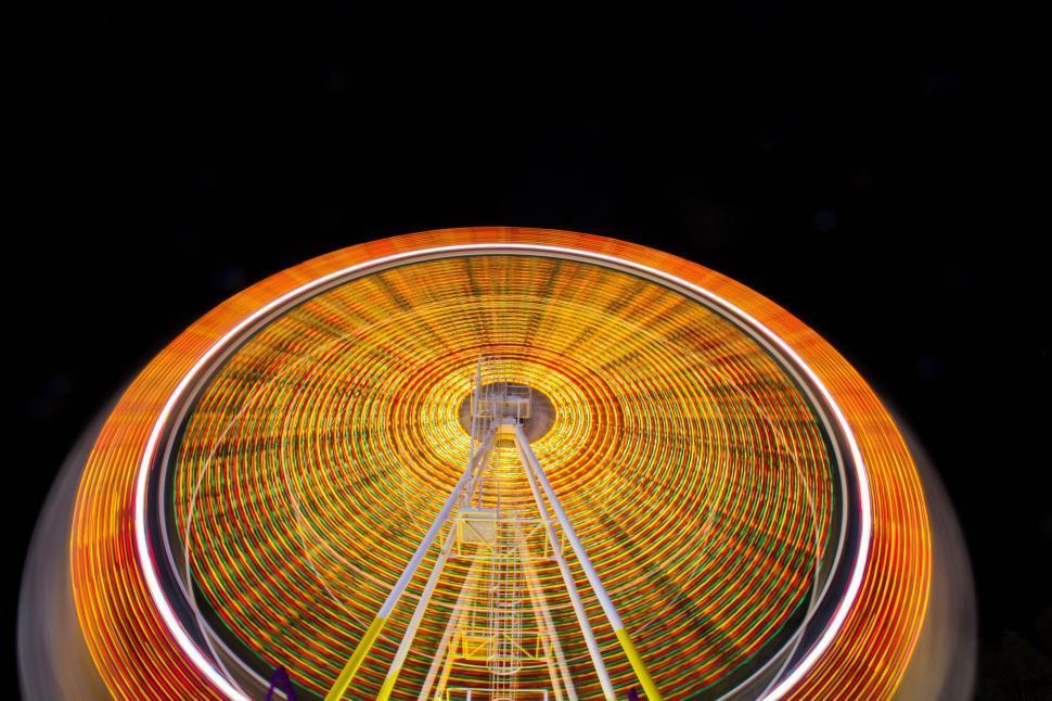 Download Free Stock Photo of circle ferris wheel lights amusement ride round