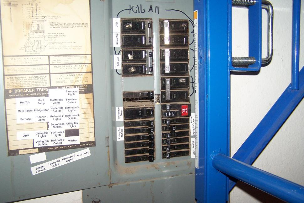 Download Free Stock Photo of Circuit Breaker Panel