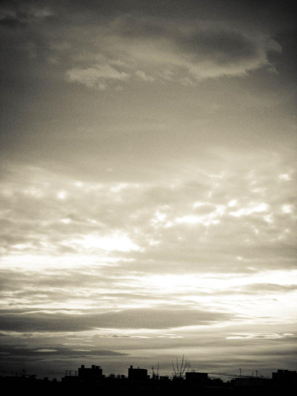 Download Free Stock Photo of black and white sky