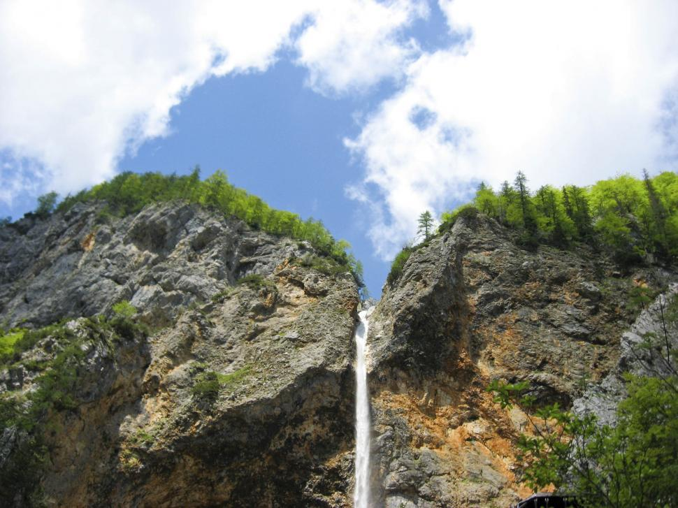 Download Free Stock HD Photo of Looking up at waterfall Online