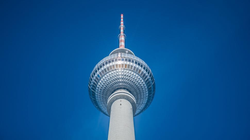 Download Free Stock Photo of sky minaret tower lamp turbine antenna spotlight building power